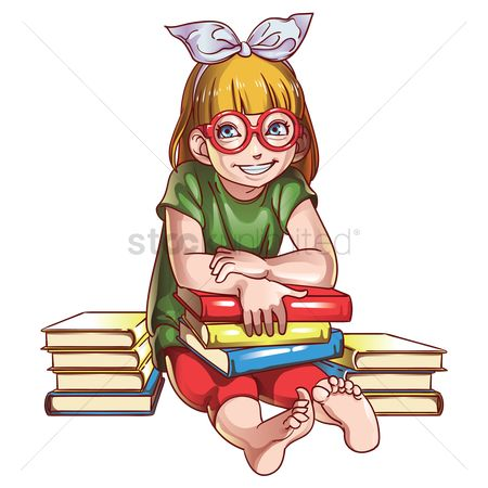 Stack : Girl with books