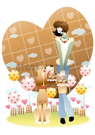 Biscuit : Girl with candy basket and a dog