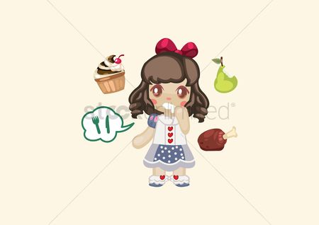 Chicken piece : Girl with food items