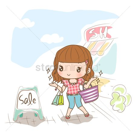 Shops : Girl with shopping bags looking at sale board