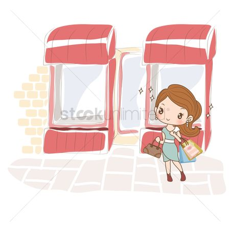 Handbags : Girl with shopping bags on street