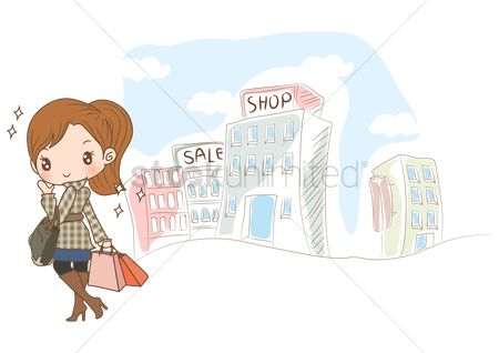 Fashions : Girl with shopping bags on street