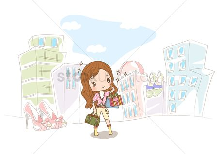 Footwears : Girl with shopping bags on street