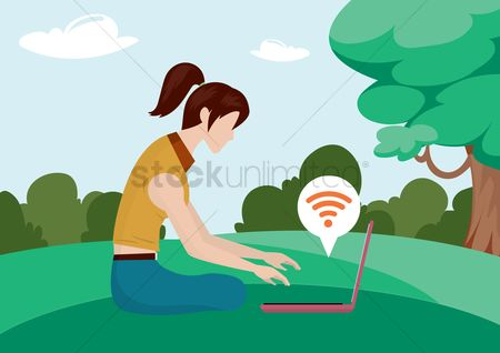 Wifi : Girl working on laptop