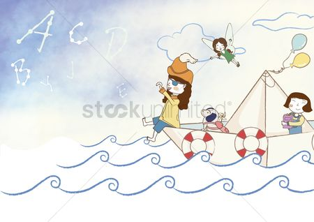 Sailors : Girls sailing in paper boat