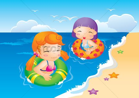 Starfishes : Girls swimming in beach water