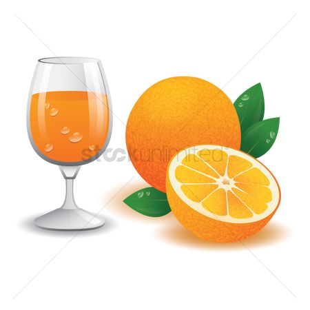 Juices : Glass of orange juice and fruits