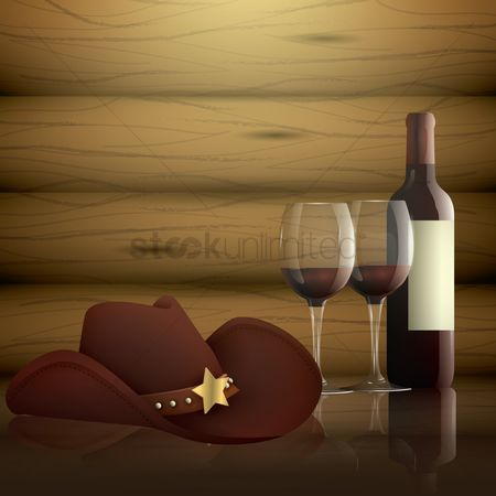 Red wine : Glass of wine with bottle and hat