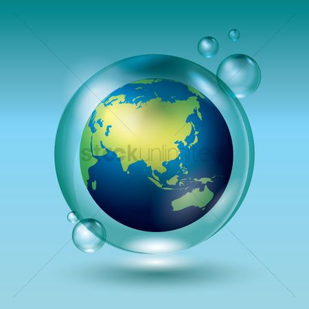 Pollution : Globe in a water bubble