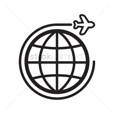 Minimalist : Globe with traveling concept icon