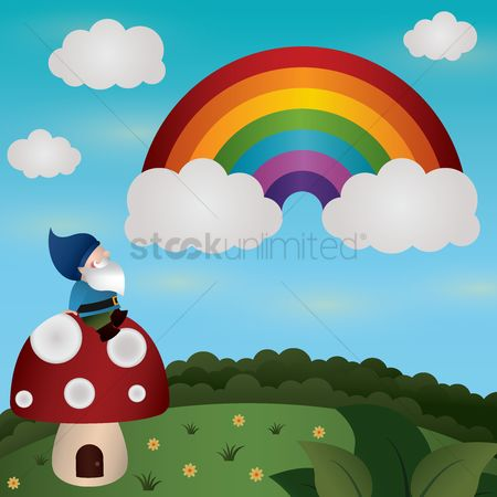 Homes : Gnome sitting on mushroom house and watching rainbow