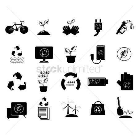 Gases : Go green and recycle concept icons