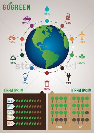 Recycle bin : Go green infographic