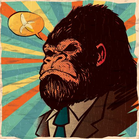 Bananas : Gorilla thinking about banana