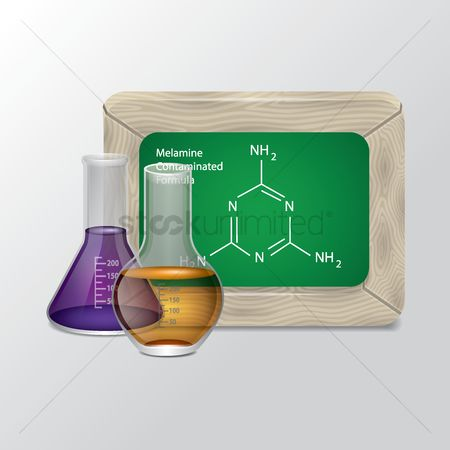 Formulas : Green chalkboard and chemical flask