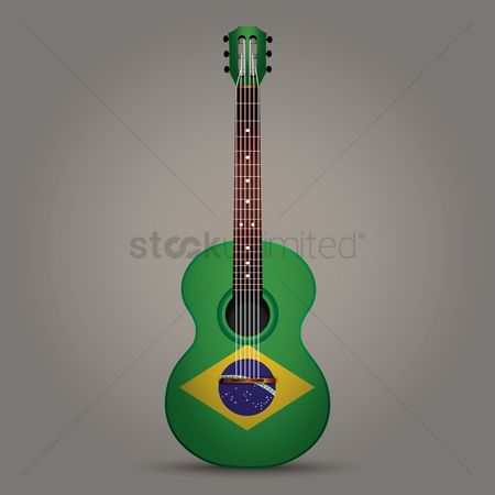 Stringed : Guitar with brazil flag