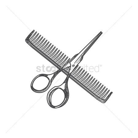 Shearing : Hair cutting shears and hair comb