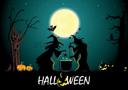 Moon : Halloween card