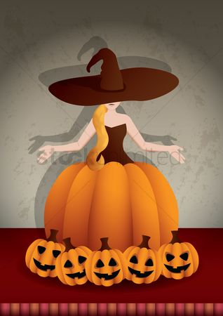 Jack o lantern : Halloween witch with pumpkins