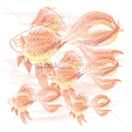 Marine life : Hand drawn fishes