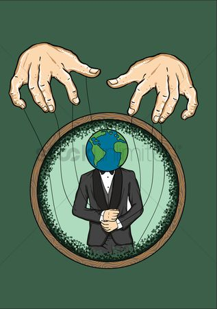 Background : Hands controlling man with a globe as his head