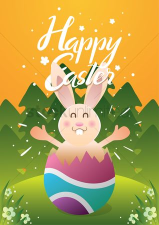 Field of flowers : Happy easter design