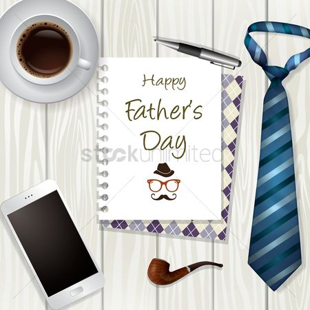 Smoking pipe : Happy fathers day greeting design