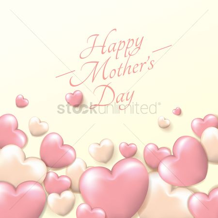 Mothers day : Happy mothers day card with hearts
