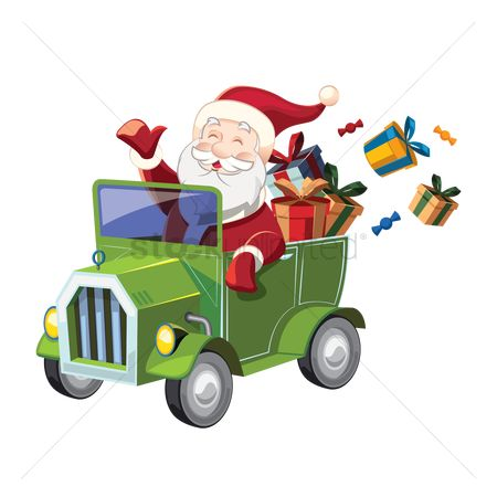 Santa : Happy santa driving a green car