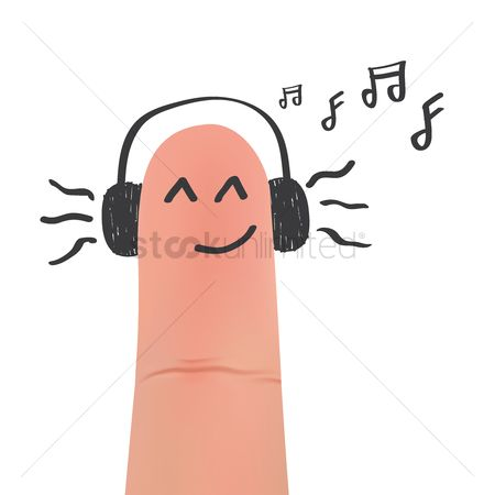 Expression : Headphones on smirking face on finger
