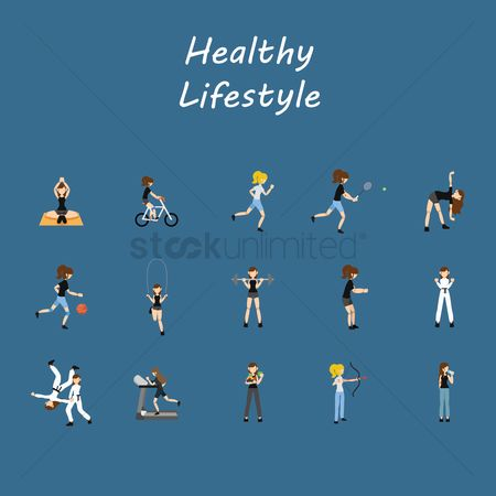 Lifestyle : Healthy lifestyle icons