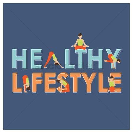 Lifestyle : Healthy lifestyle lettering design