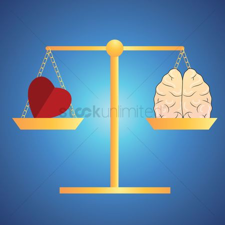 Brain : Heart and mind balance concept