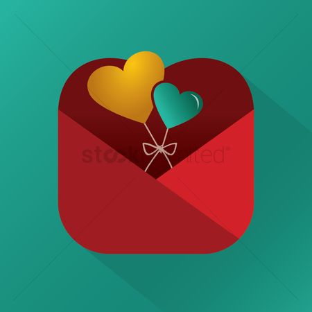 Heart : Heart shaped balloons in an envelope