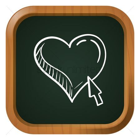 Online dating icon : Heart with cursor
