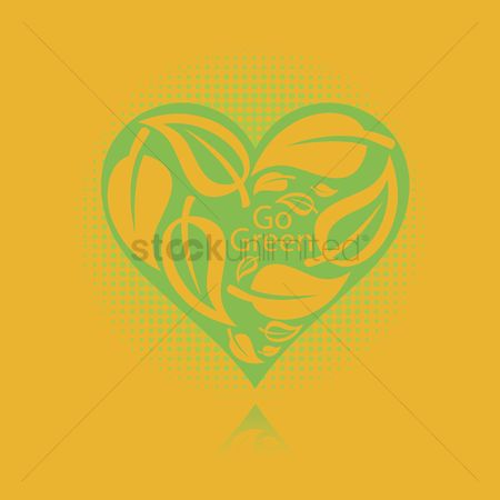 Heart : Heart with leaves and go green