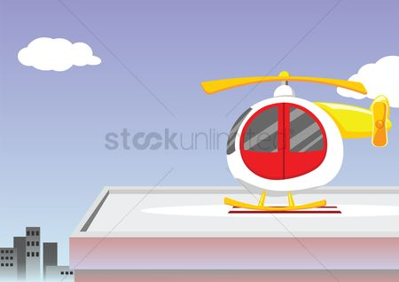 Helicopter : Helicopter over a sky background