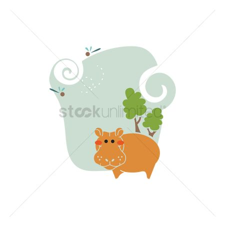 Animal : Hippo in nature icon