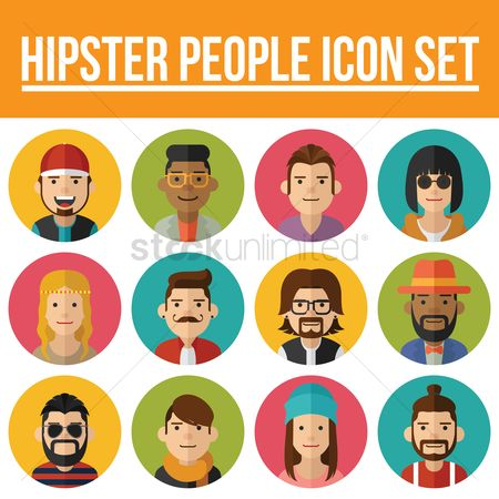 Fashions : Hipster people icon set