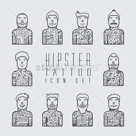 Sketching : Hipster tattoo icon set