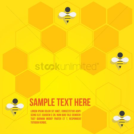 Honeycomb : Honeycomb with bees template design