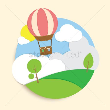 Journeys : Hot air balloon in sky