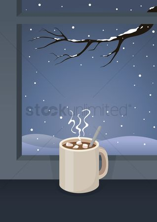 Indoor : Hot cocoa with marshmallow by the window