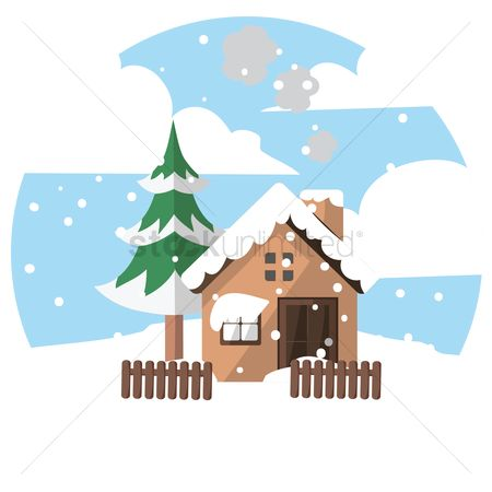 Cottages : House with snow