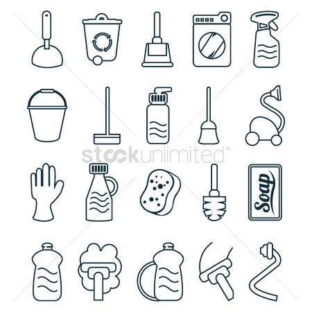 Broom : Household cleaning items icons