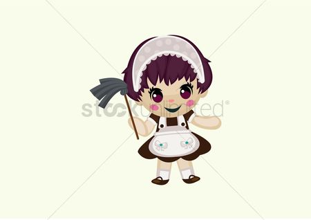 Duster : Housemaid cleaning the house