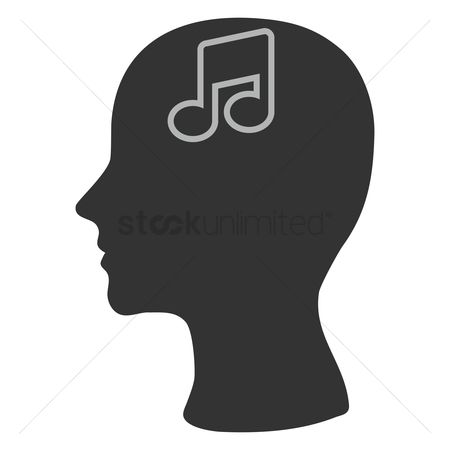 Imaginations : Human head silhouette with a musical note