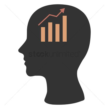 Imaginations : Human head silhouette with business growth chart