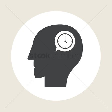 Imaginations : Human head silhouette with clock