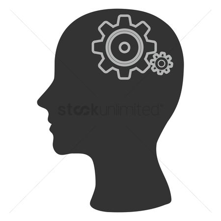 Cogwheels : Human head silhouette with gears